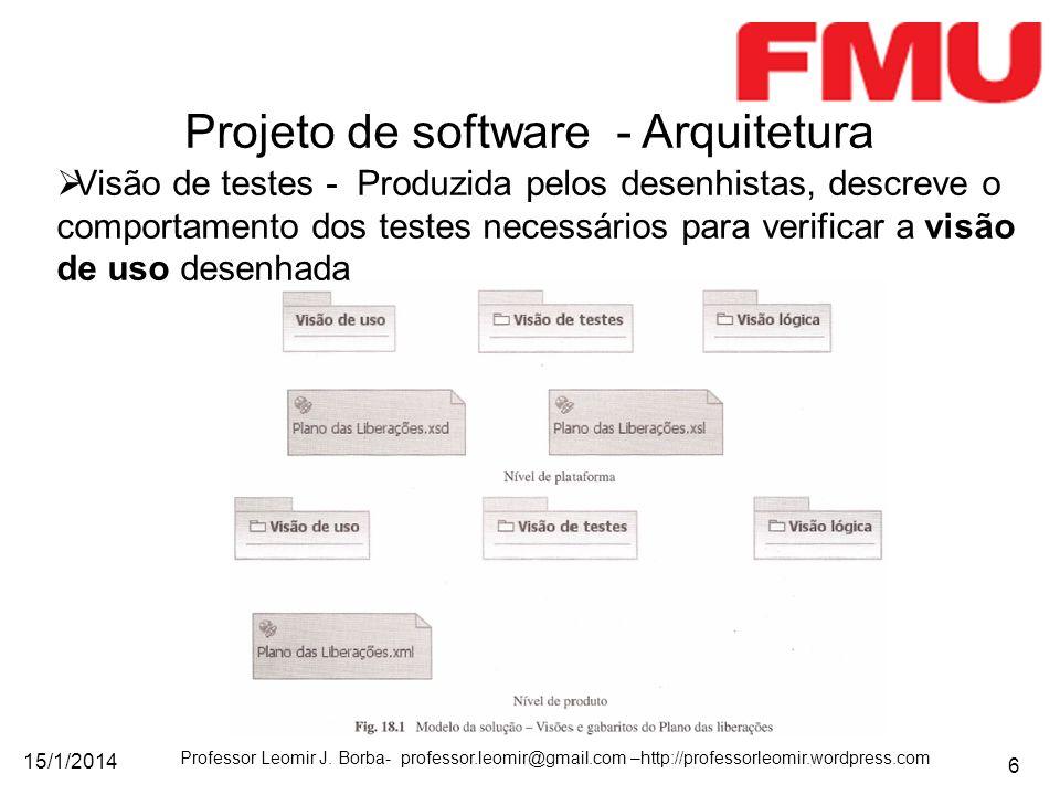 15/1/2014 Professor Leomir J. Borba- professor.leomir@gmail.com –http://professorleomir.wordpress.com 6 Visão de testes - Produzida pelos desenhistas,