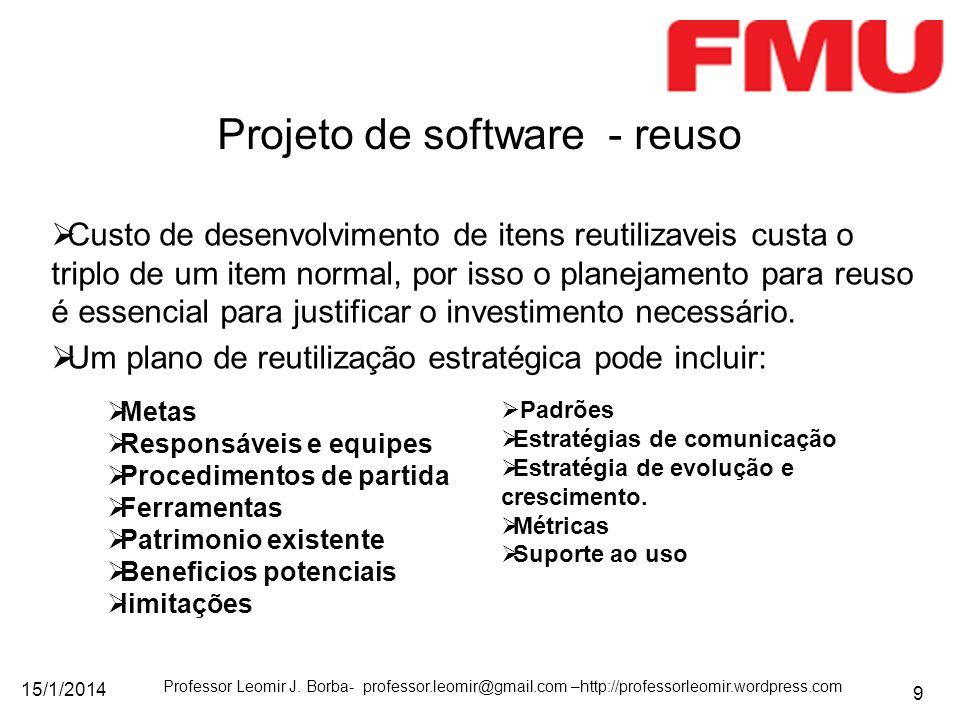 15/1/2014 Professor Leomir J. Borba- professor.leomir@gmail.com –http://professorleomir.wordpress.com 9 Custo de desenvolvimento de itens reutilizavei