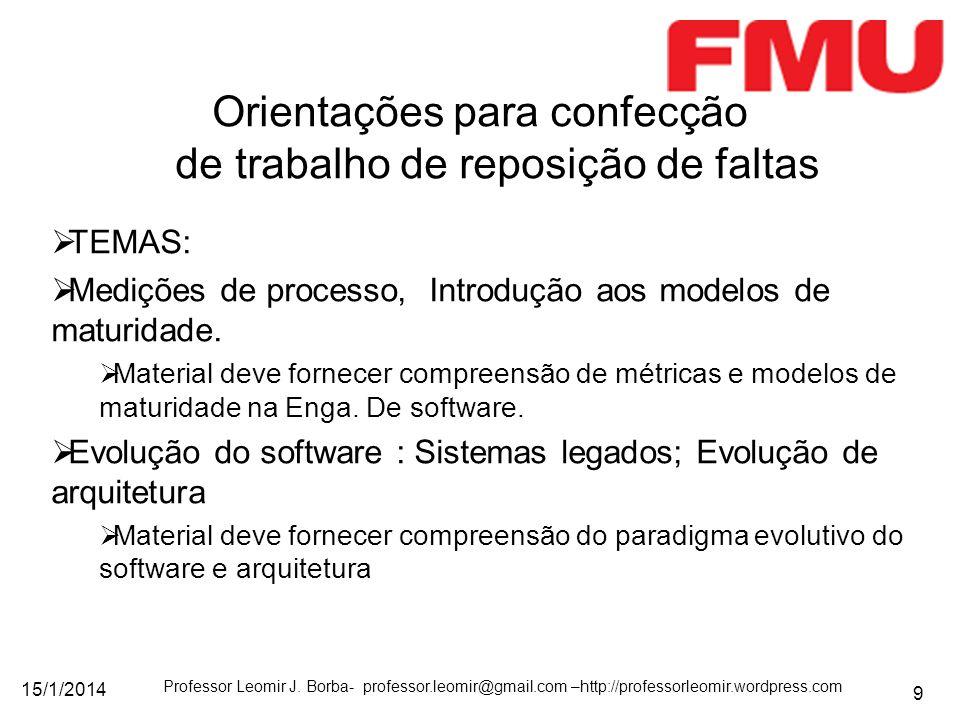 15/1/2014 Professor Leomir J. Borba- professor.leomir@gmail.com –http://professorleomir.wordpress.com 9 TEMAS: Medições de processo, Introdução aos mo