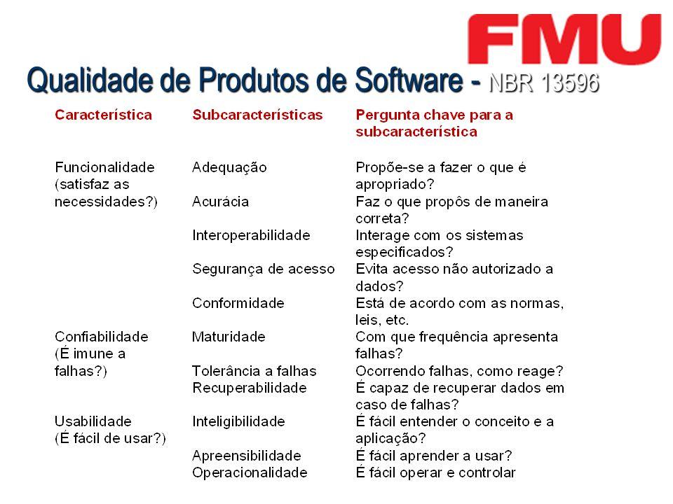 Qualidade de Produtos de Software - NBR 13596