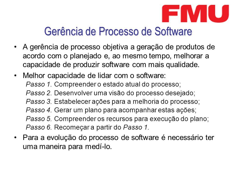 Gerência de Processo de Software A gerência de processo objetiva a geração de produtos de acordo com o planejado e, ao mesmo tempo, melhorar a capacid