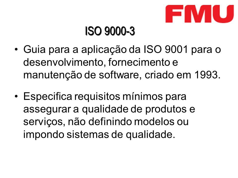 ISO 9000-3 Guia para a aplicação da ISO 9001 para o desenvolvimento, fornecimento e manutenção de software, criado em 1993. Especifica requisitos míni