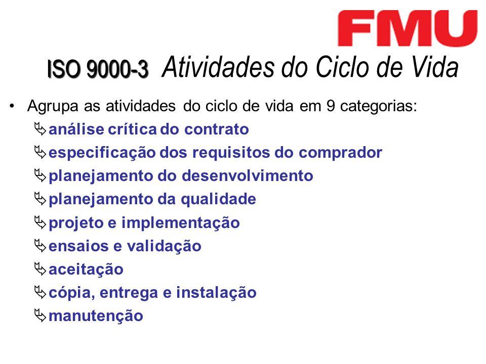 ISO 9000-3 ISO 9000-3 Atividades do Ciclo de Vida Agrupa as atividades do ciclo de vida em 9 categorias: análise crítica do contrato especificação dos