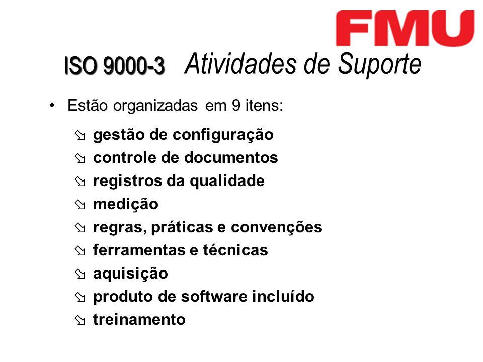 ISO 9000-3 ISO 9000-3 Atividades de Suporte Estão organizadas em 9 itens: gestão de configuração controle de documentos registros da qualidade medição