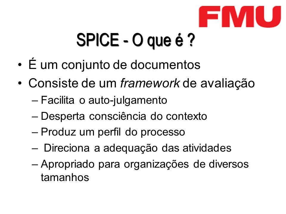 SPICE - O que é ? É um conjunto de documentos Consiste de um framework de avaliação –Facilita o auto-julgamento –Desperta consciência do contexto –Pro