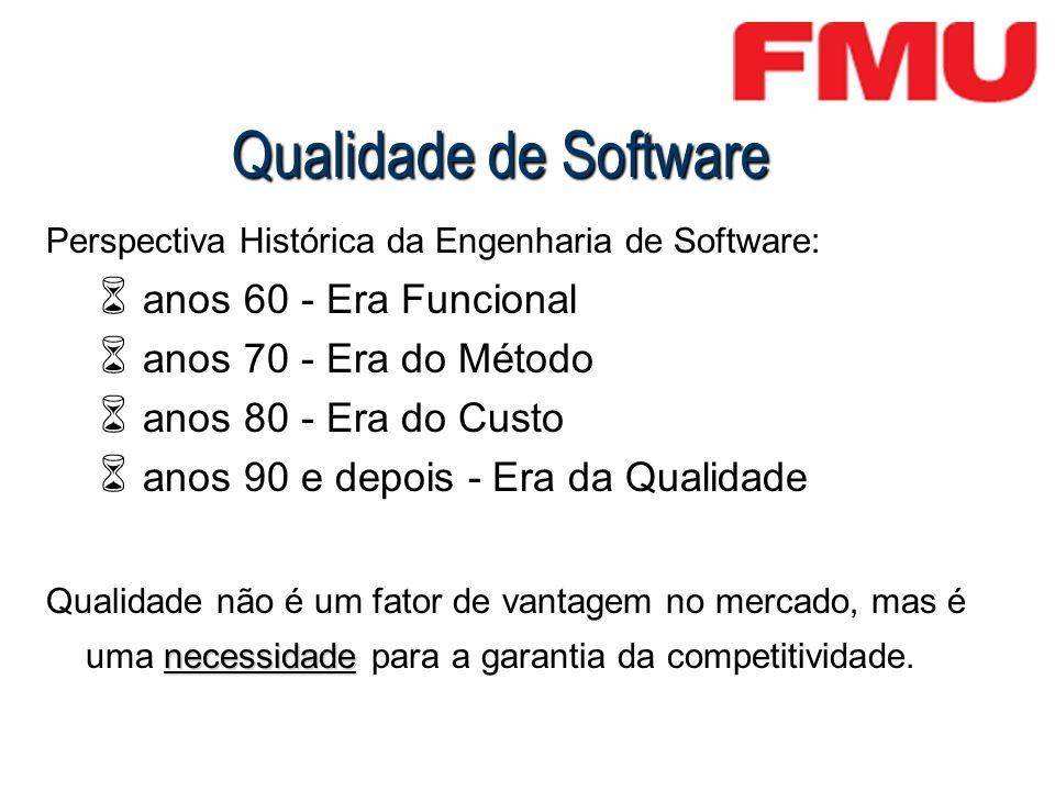 Qualidade de Software Perspectiva Histórica da Engenharia de Software: anos 60 - Era Funcional anos 70 - Era do Método anos 80 - Era do Custo anos 90