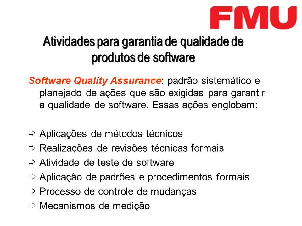 Atividades para garantia de qualidade de produtos de software Software Quality Assurance: padrão sistemático e planejado de ações que são exigidas par