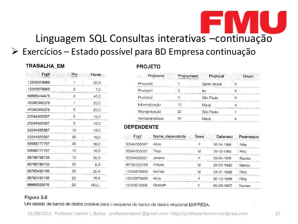 Linguagem SQL Consultas interativas –continuação Exercícios – Estado possível para BD Empresa continuação 17 01/08/2011 Professor Leomir J.