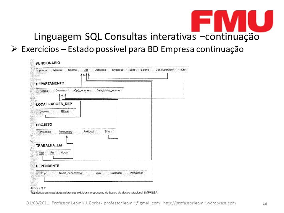 Linguagem SQL Consultas interativas –continuação Exercícios – Estado possível para BD Empresa continuação 18 01/08/2011 Professor Leomir J.