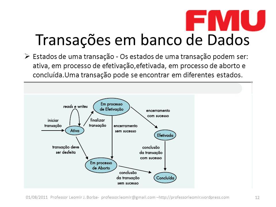 Transações em banco de Dados Estados de uma transação - Os estados de uma transação podem ser: ativa, em processo de efetivação,efetivada, em processo de aborto e concluída.Uma transação pode se encontrar em diferentes estados.
