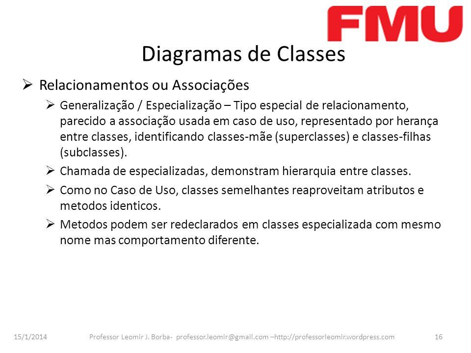 15/1/2014 Professor Leomir J. Borba- professor.leomir@gmail.com –http://professorleomir.wordpress.com16 Diagramas de Classes Relacionamentos ou Associ