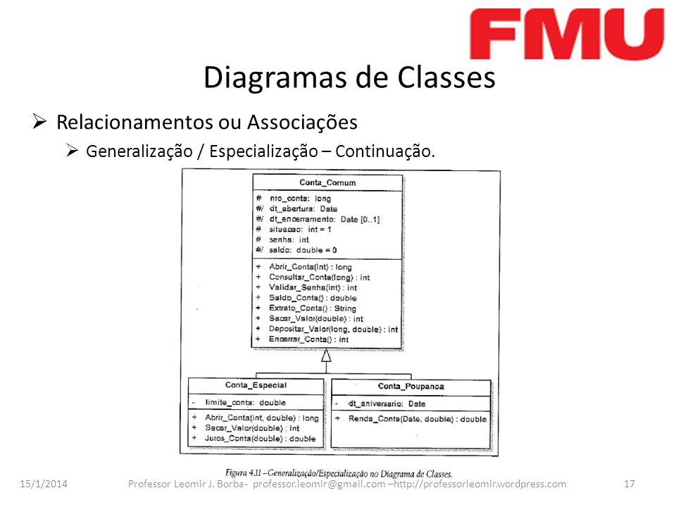 15/1/2014 Professor Leomir J. Borba- professor.leomir@gmail.com –http://professorleomir.wordpress.com17 Diagramas de Classes Relacionamentos ou Associ