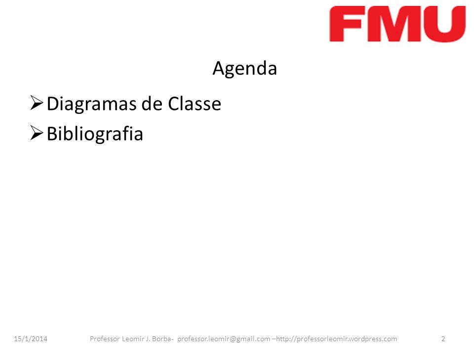 15/1/2014 Professor Leomir J. Borba- professor.leomir@gmail.com –http://professorleomir.wordpress.com2 Agenda Diagramas de Classe Bibliografia