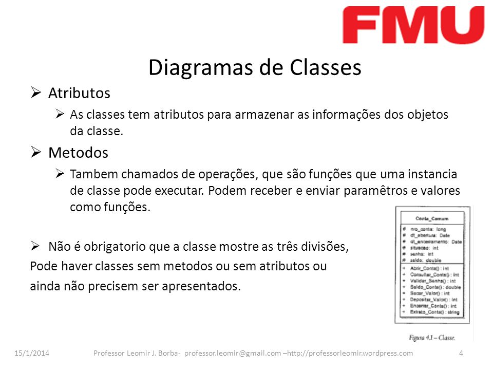 15/1/2014 Professor Leomir J. Borba- professor.leomir@gmail.com –http://professorleomir.wordpress.com4 Diagramas de Classes Atributos As classes tem a