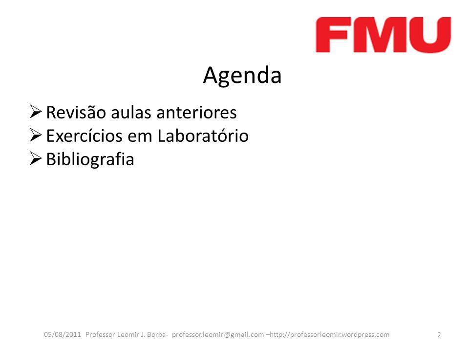 Agenda Revisão aulas anteriores Exercícios em Laboratório Bibliografia 2 05/08/2011 Professor Leomir J. Borba- professor.leomir@gmail.com –http://prof