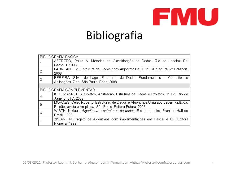 Bibliografia 05/08/2011 Professor Leomir J. Borba- professor.leomir@gmail.com –http://professorleomir.wordpress.com 7 BIBLIOGRAFIA BÁSICA 1 AZEREDO, P