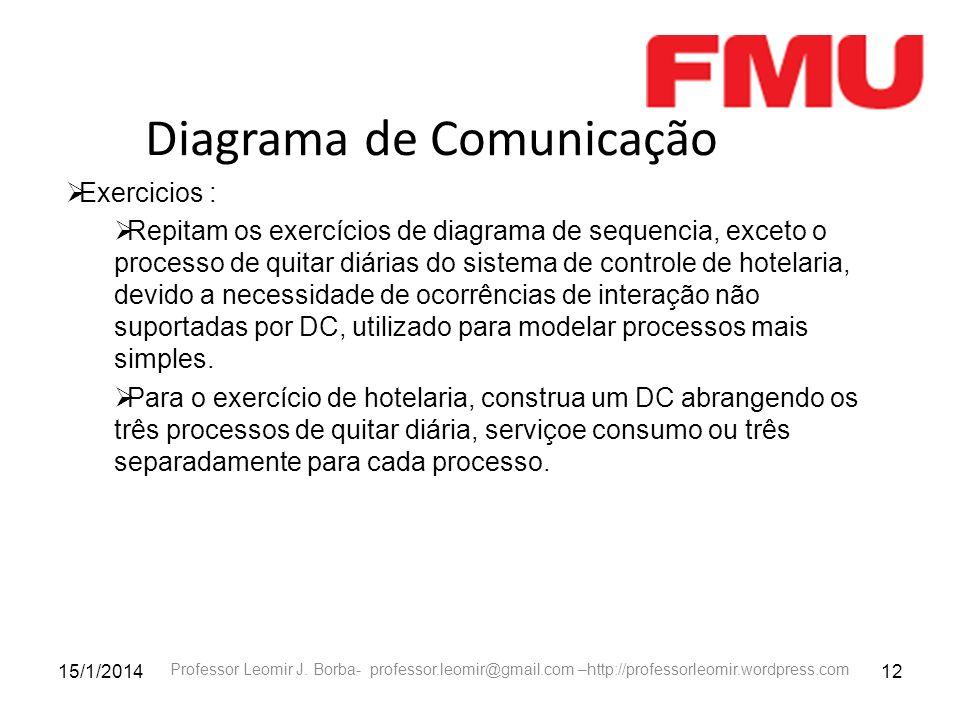 15/1/201412 Professor Leomir J. Borba- professor.leomir@gmail.com –http://professorleomir.wordpress.com Diagrama de Comunicação Exercicios : Repitam o