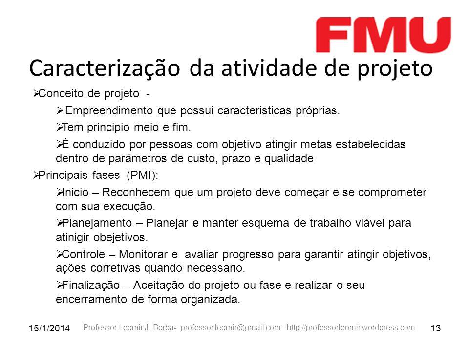 15/1/201413 Professor Leomir J. Borba- professor.leomir@gmail.com –http://professorleomir.wordpress.com Caracterização da atividade de projeto Conceit