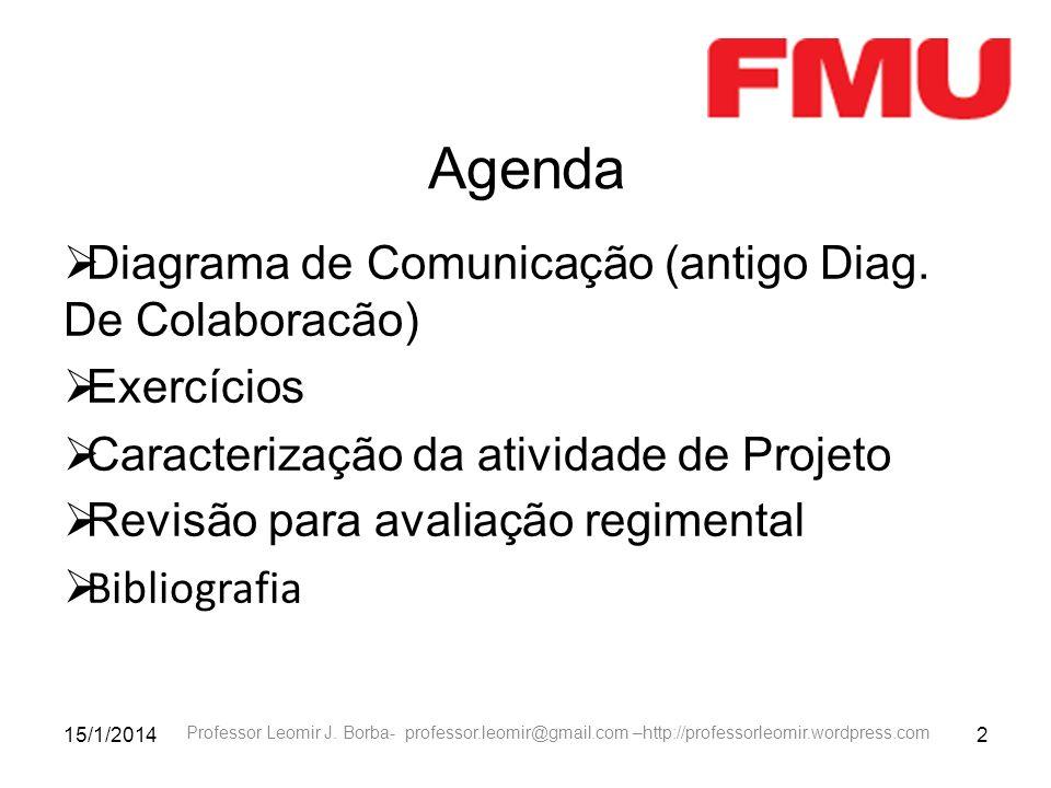 15/1/20142 Professor Leomir J. Borba- professor.leomir@gmail.com –http://professorleomir.wordpress.com Agenda Diagrama de Comunicação (antigo Diag. De