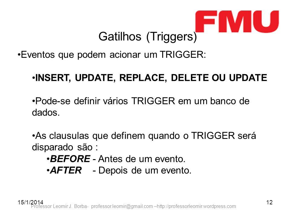 15/1/201412 Professor Leomir J. Borba- professor.leomir@gmail.com –http://professorleomir.wordpress.com Gatilhos (Triggers) Eventos que podem acionar