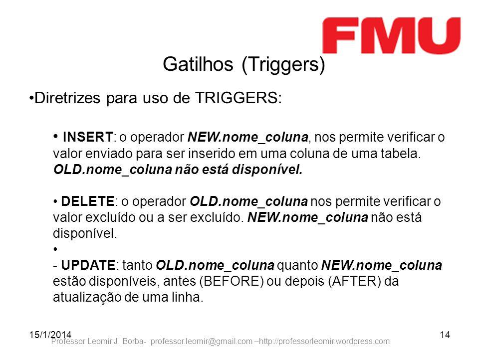 15/1/201414 Professor Leomir J. Borba- professor.leomir@gmail.com –http://professorleomir.wordpress.com Gatilhos (Triggers) Diretrizes para uso de TRI