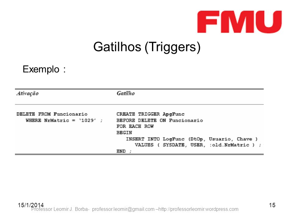 15/1/201415 Professor Leomir J. Borba- professor.leomir@gmail.com –http://professorleomir.wordpress.com Gatilhos (Triggers) Exemplo :