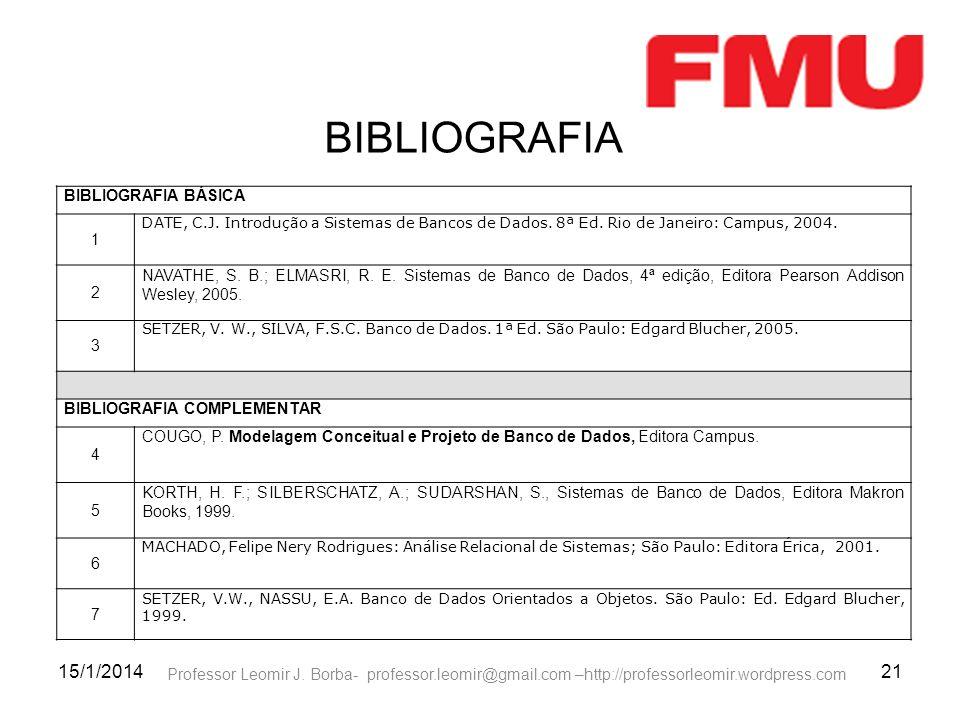 15/1/201421 Professor Leomir J. Borba- professor.leomir@gmail.com –http://professorleomir.wordpress.com BIBLIOGRAFIA BÁSICA 1 DATE, C.J. Introdução a