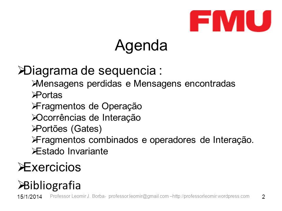 15/1/20142 Professor Leomir J. Borba- professor.leomir@gmail.com –http://professorleomir.wordpress.com Agenda Diagrama de sequencia : Mensagens perdid