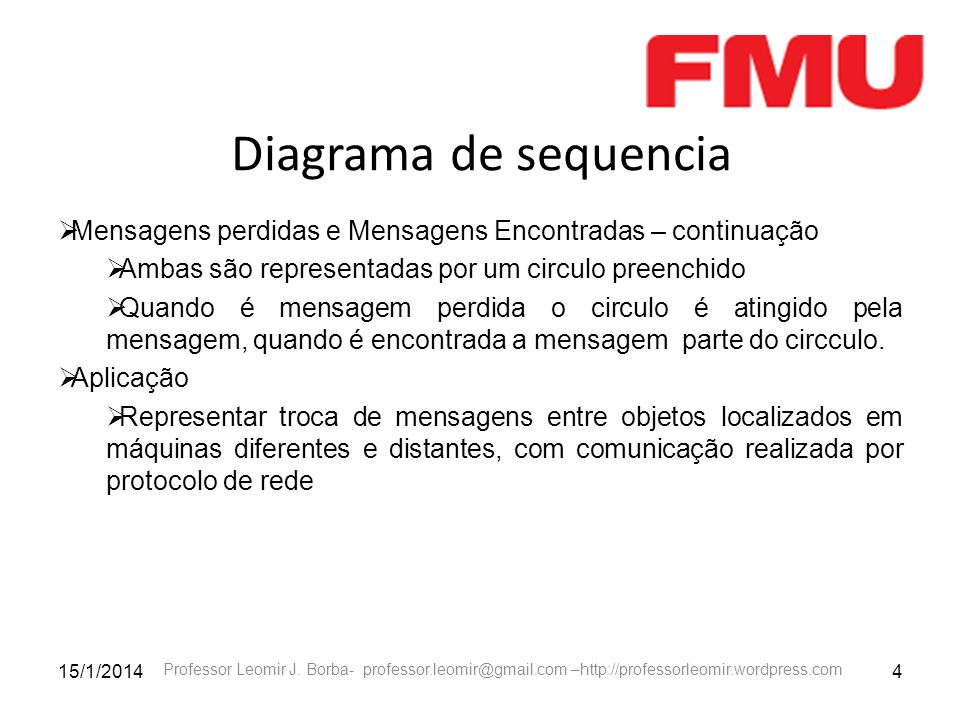 15/1/20144 Professor Leomir J. Borba- professor.leomir@gmail.com –http://professorleomir.wordpress.com Diagrama de sequencia Mensagens perdidas e Mens