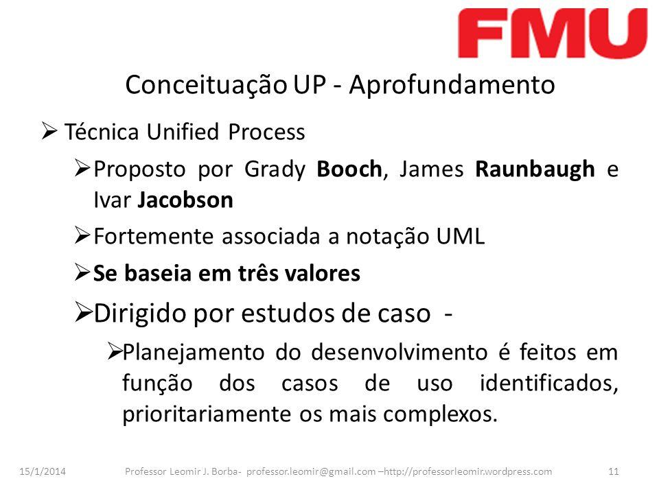 15/1/2014 Professor Leomir J. Borba- professor.leomir@gmail.com –http://professorleomir.wordpress.com11 Conceituação UP - Aprofundamento Técnica Unifi