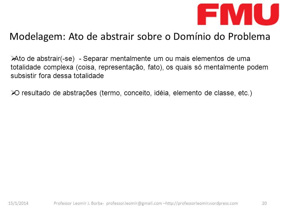 15/1/2014 Professor Leomir J. Borba- professor.leomir@gmail.com –http://professorleomir.wordpress.com20 Modelagem: Ato de abstrair sobre o Domínio do