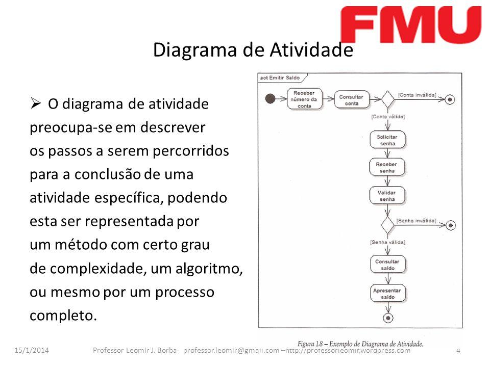 15/1/2014 Professor Leomir J. Borba- professor.leomir@gmail.com –http://professorleomir.wordpress.com4 Diagrama de Atividade O diagrama de atividade p