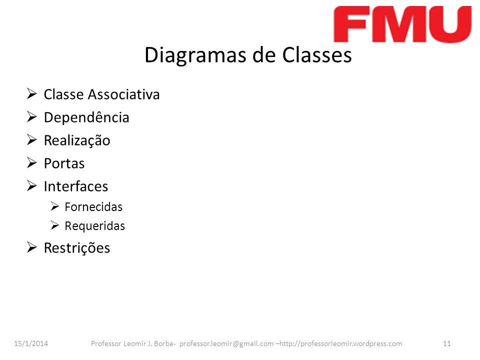 15/1/2014 Professor Leomir J. Borba- professor.leomir@gmail.com –http://professorleomir.wordpress.com11 Diagramas de Classes Classe Associativa Depend