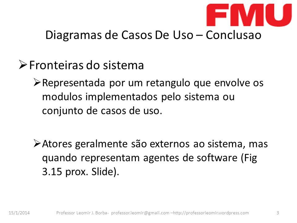 15/1/2014 Professor Leomir J. Borba- professor.leomir@gmail.com –http://professorleomir.wordpress.com3 Diagramas de Casos De Uso – Conclusao Fronteira