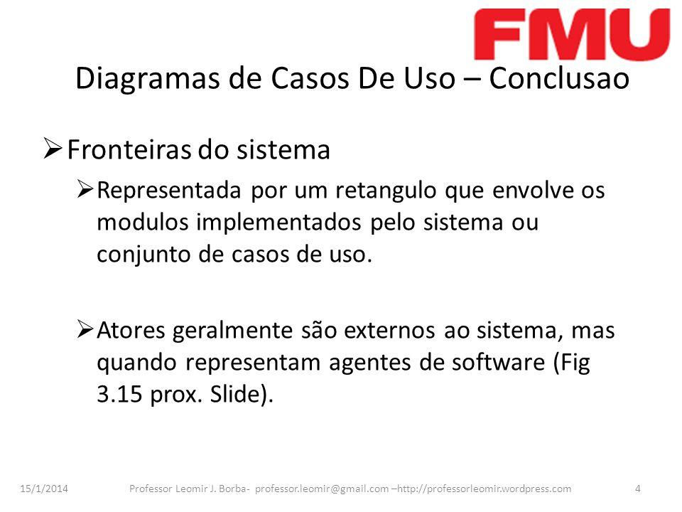 15/1/2014 Professor Leomir J. Borba- professor.leomir@gmail.com –http://professorleomir.wordpress.com4 Diagramas de Casos De Uso – Conclusao Fronteira