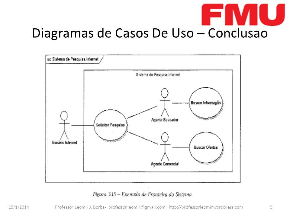 15/1/2014 Professor Leomir J. Borba- professor.leomir@gmail.com –http://professorleomir.wordpress.com5 Diagramas de Casos De Uso – Conclusao