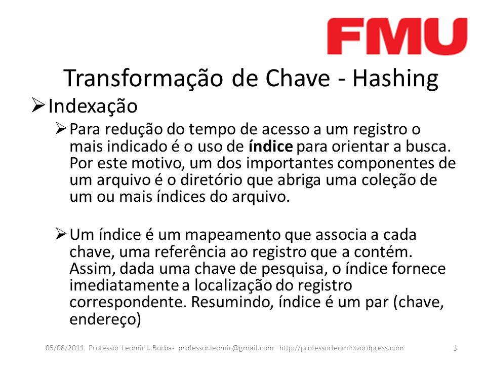 Transformação de Chave - Hashing Indexação Para redução do tempo de acesso a um registro o mais indicado é o uso de índice para orientar a busca.