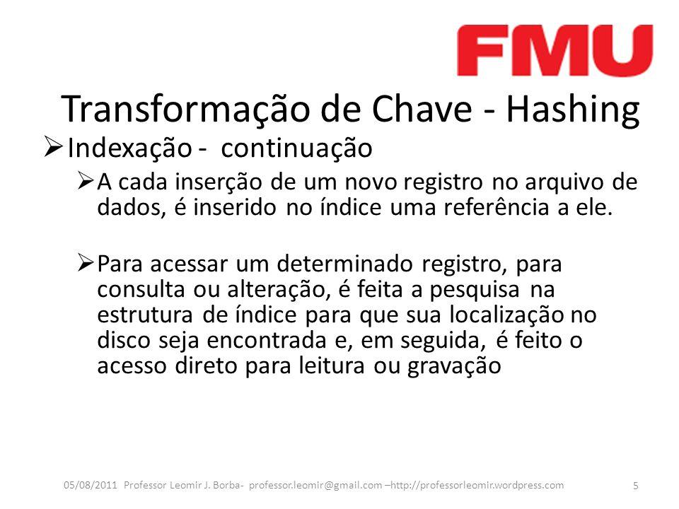 Transformação de Chave - Hashing Indexação - continuação Exemplo: 6 05/08/2011 Professor Leomir J.