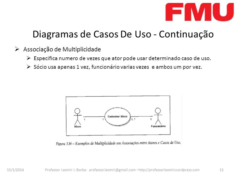 15/1/2014 Professor Leomir J. Borba- professor.leomir@gmail.com –http://professorleomir.wordpress.com11 Diagramas de Casos De Uso - Continuação Associ