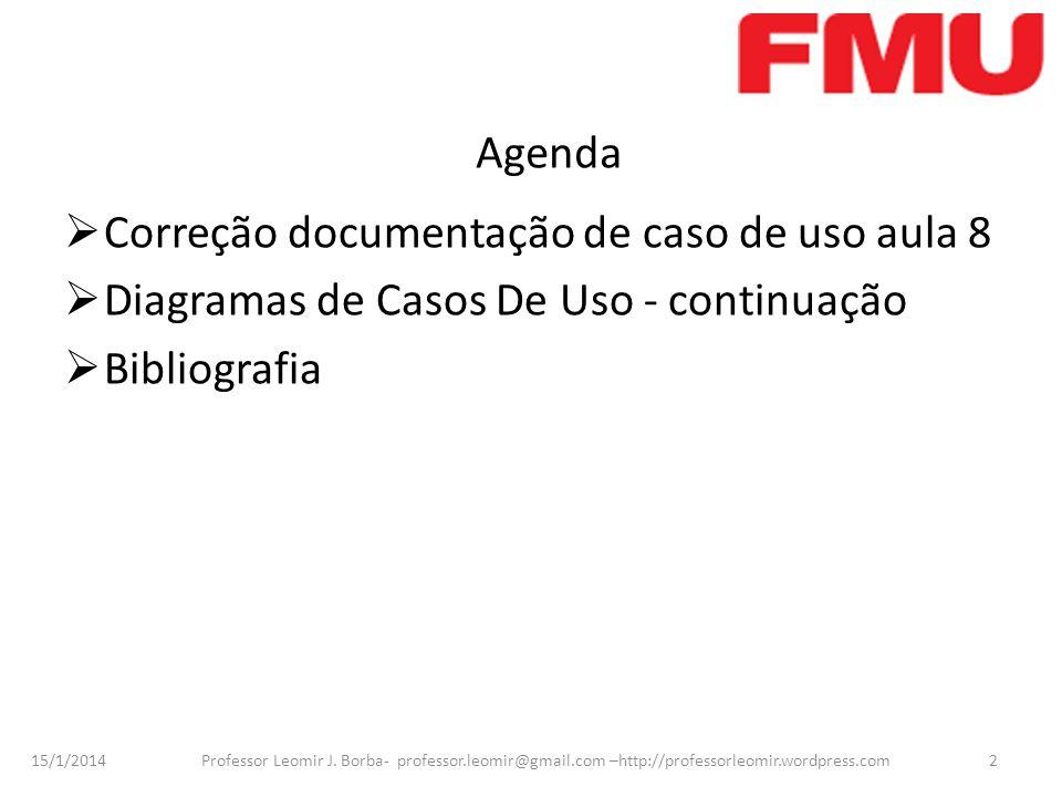 15/1/2014 Professor Leomir J. Borba- professor.leomir@gmail.com –http://professorleomir.wordpress.com2 Agenda Correção documentação de caso de uso aul