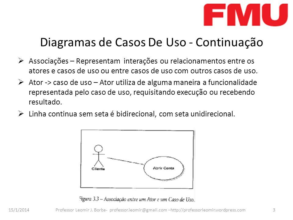 15/1/2014 Professor Leomir J. Borba- professor.leomir@gmail.com –http://professorleomir.wordpress.com3 Diagramas de Casos De Uso - Continuação Associa