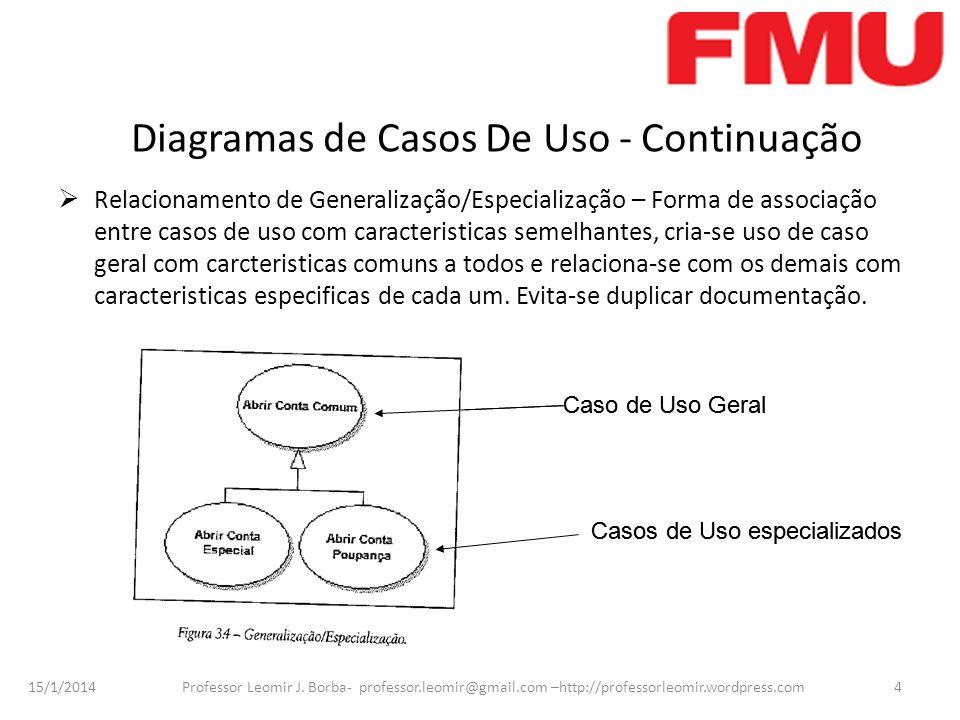 15/1/2014 Professor Leomir J. Borba- professor.leomir@gmail.com –http://professorleomir.wordpress.com4 Diagramas de Casos De Uso - Continuação Relacio