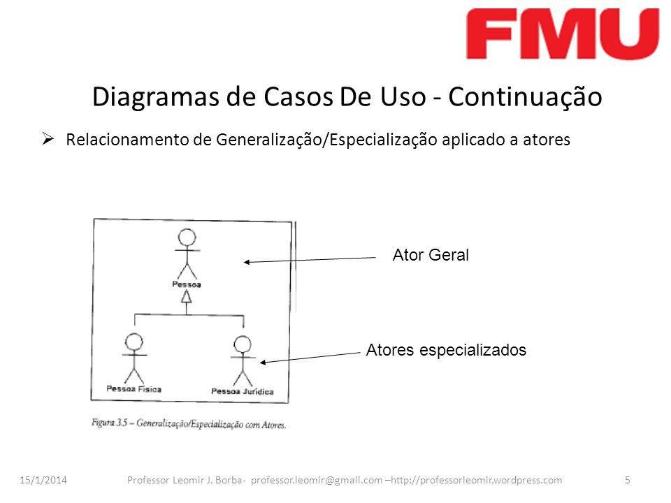15/1/2014 Professor Leomir J. Borba- professor.leomir@gmail.com –http://professorleomir.wordpress.com5 Diagramas de Casos De Uso - Continuação Relacio