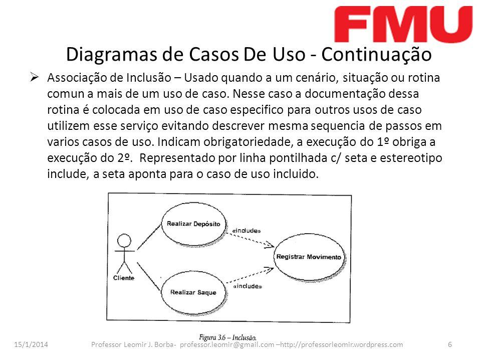 15/1/2014 Professor Leomir J. Borba- professor.leomir@gmail.com –http://professorleomir.wordpress.com6 Diagramas de Casos De Uso - Continuação Associa