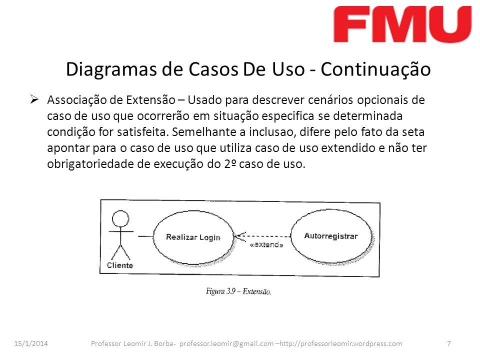 15/1/2014 Professor Leomir J. Borba- professor.leomir@gmail.com –http://professorleomir.wordpress.com7 Diagramas de Casos De Uso - Continuação Associa