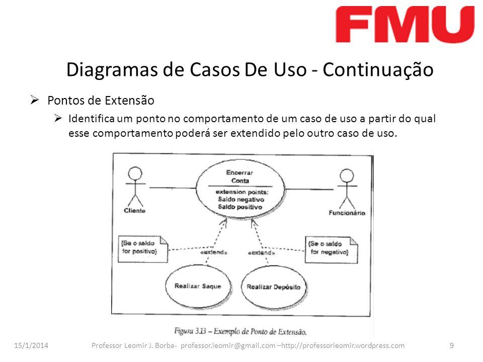 15/1/2014 Professor Leomir J. Borba- professor.leomir@gmail.com –http://professorleomir.wordpress.com9 Diagramas de Casos De Uso - Continuação Pontos