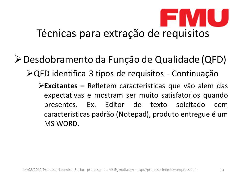 Técnicas para extração de requisitos Desdobramento da Função de Qualidade (QFD) QFD identifica 3 tipos de requisitos - Continuação Excitantes – Reflet