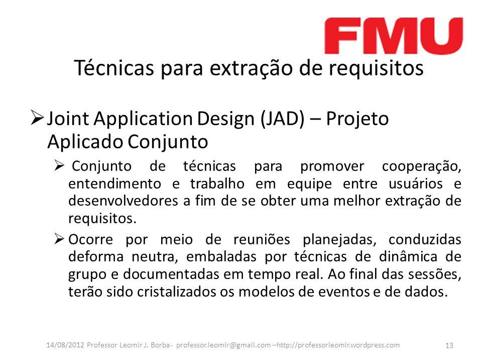 Técnicas para extração de requisitos Joint Application Design (JAD) – Projeto Aplicado Conjunto Conjunto de técnicas para promover cooperação, entendi