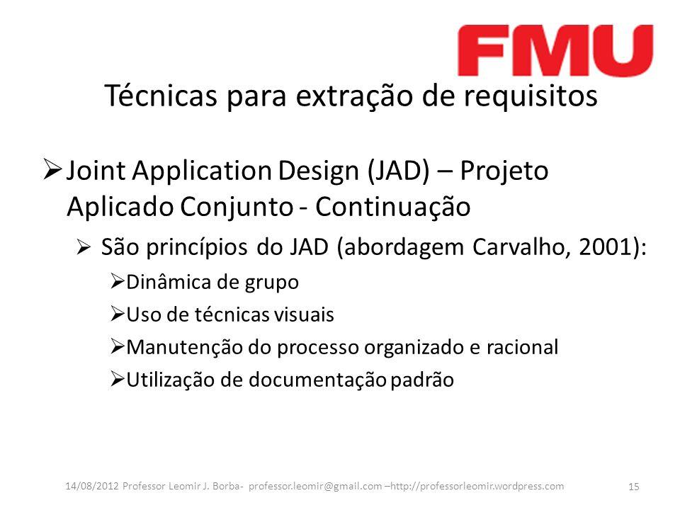 Técnicas para extração de requisitos Joint Application Design (JAD) – Projeto Aplicado Conjunto - Continuação São princípios do JAD (abordagem Carvalh