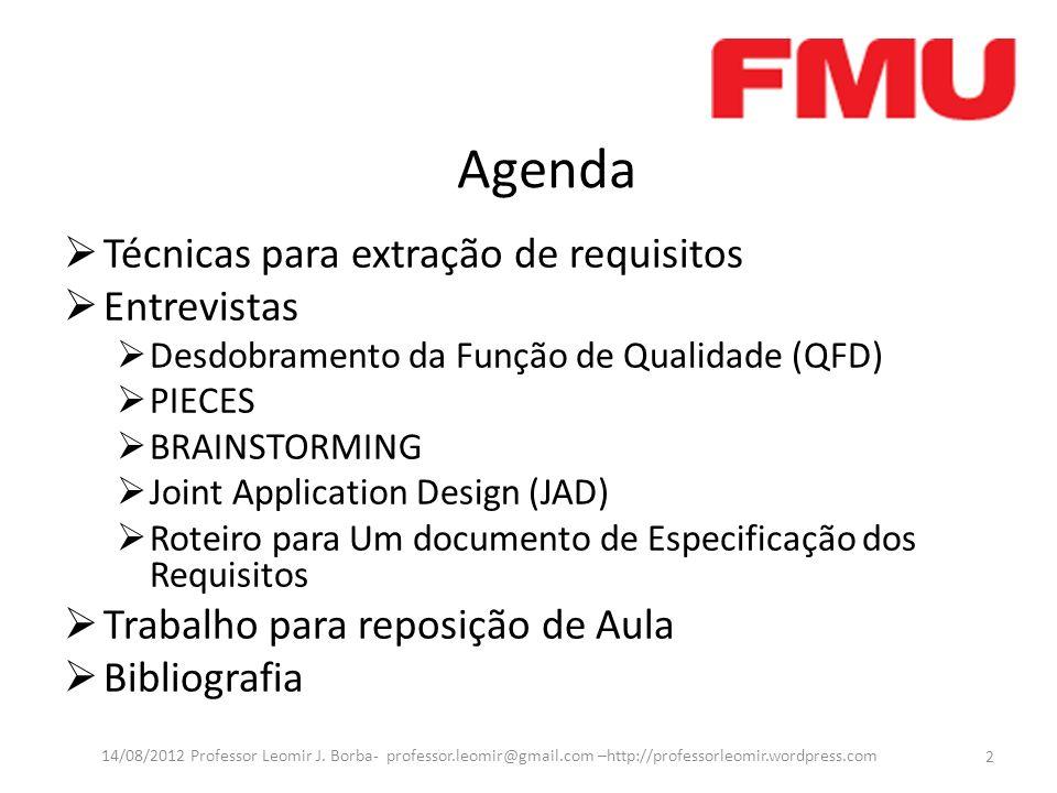 Agenda Técnicas para extração de requisitos Entrevistas Desdobramento da Função de Qualidade (QFD) PIECES BRAINSTORMING Joint Application Design (JAD)